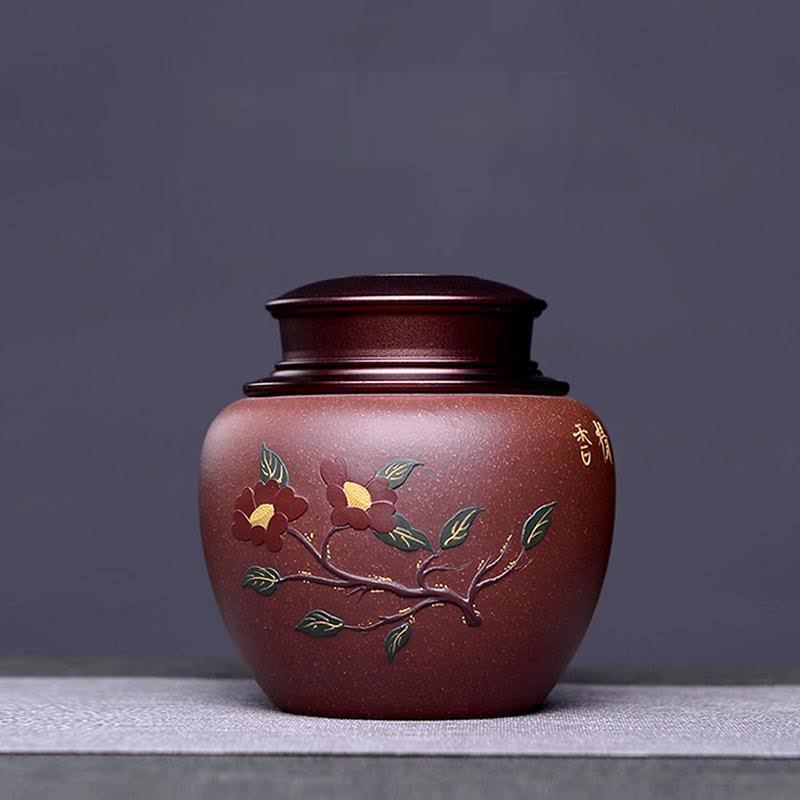Purple Clay Tea Caddy Storage Containers Tea Can Canister Vintage Chinese Style Boite Ceramique Kitchen Canisters DI50CYG