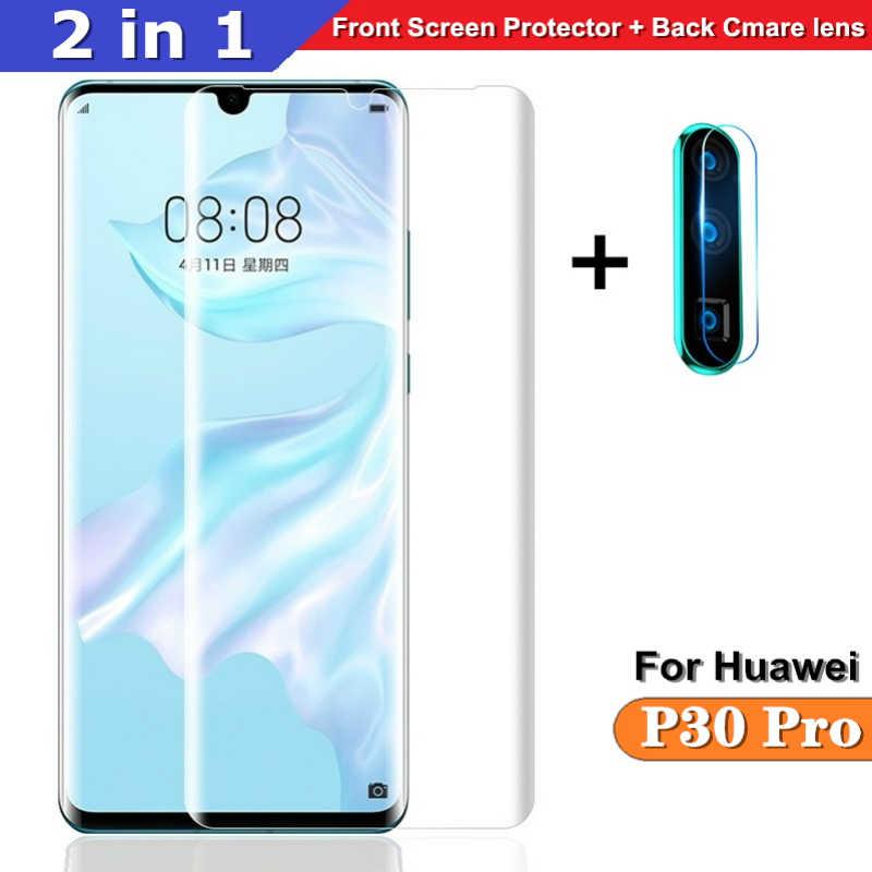 2 in 1 Schutz glas Für Huawei P30 Pro zurück Cmare glas + front Screen glas für Huawei P30pro 3D volle abdeckung Schutzhülle Film