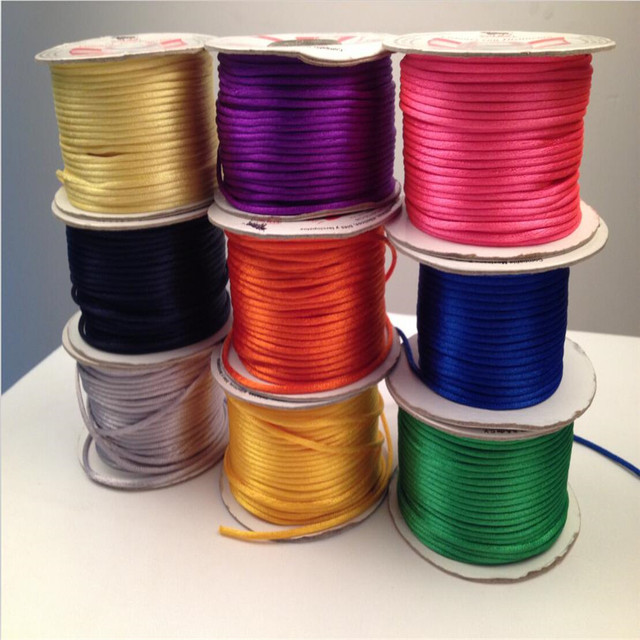 10M/lot Braided Macrame Silk Macrame Cord Rope Thread Wire 2mm DIY Chinese Knot Satin Bracelets Making Findings Beading