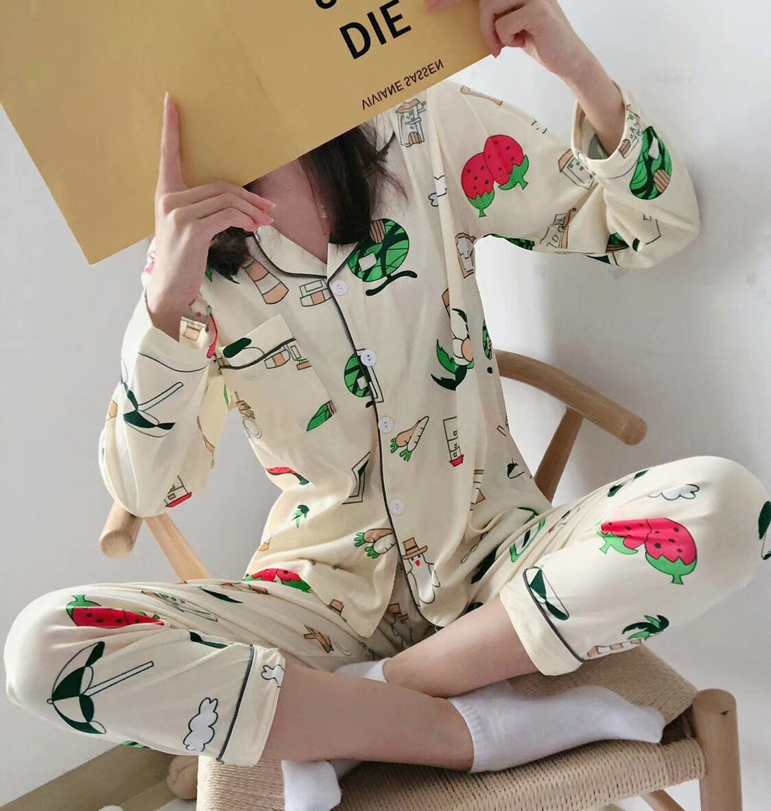 Autumn Long Sleeve Pure Cotton Pajamas Women's Long Sleeve Autumn And Winter New Style Green Pineapple Heart Leaf TUCANO Pajamas