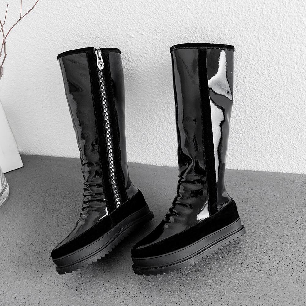 Grande taille 34 43 en cuir véritable femmes bottes d'hiver chaud en peluche fourrure bottes de neige femmes fermetures à glissière plate forme Botas Mujer chaussures de neige bottes - 5