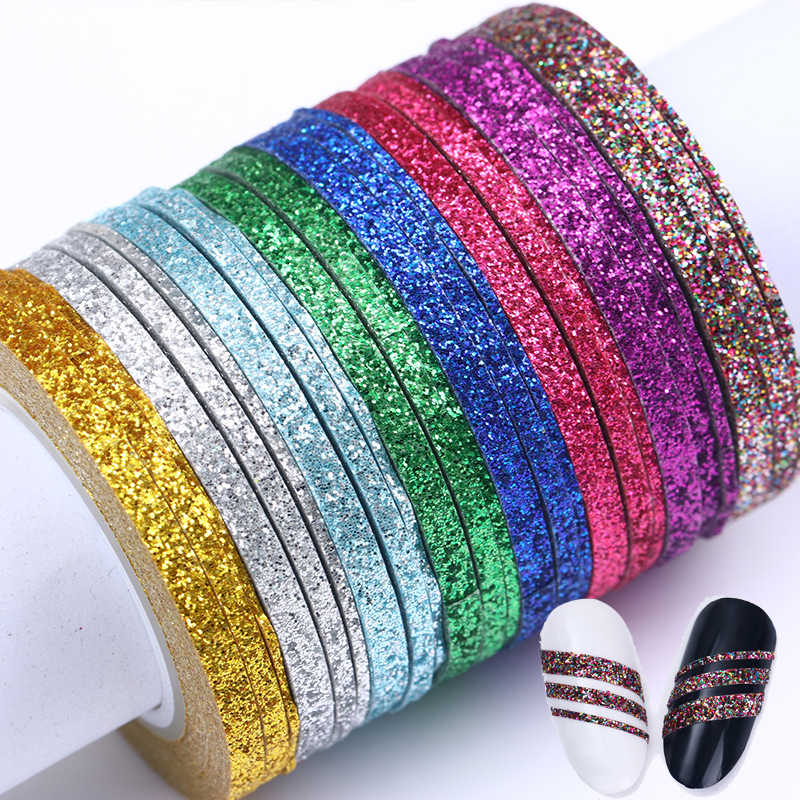 13/10/8/4Pcs Matte Glitter Nail Striping Tape Set Line Nail Sticker Colorful 1mm 2mm 3mm Nail Art  DIY Adhesive Stickers