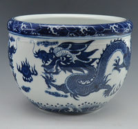 Chinese Antique Qing Qianlong Mark Blue And White Porcelain Ceramic Fish Bowl Flower Pot