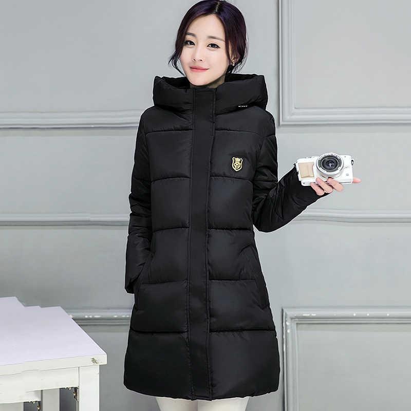 คุณภาพสูง Causal สุภาพสตรีเสื้อผู้หญิงฤดูหนาวเสื้อคลุมยาว Hooded Coat WARM Thicken WOMENS เสื้อแจ็คเก็ตฤดูหนาวของแข็ง Padded หญิงลง Parka