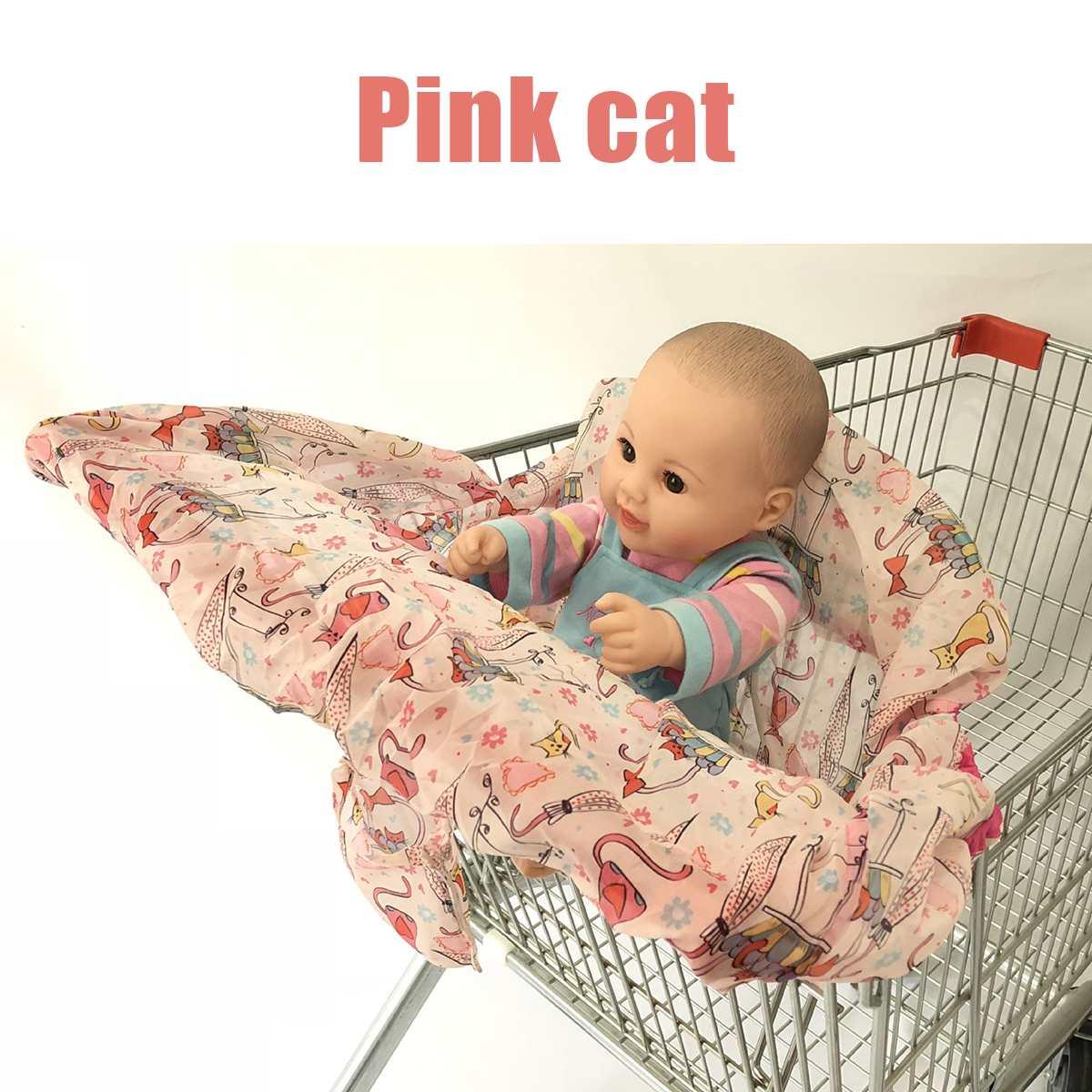 Детская продуктовая тележка для малышей, детская тележка для покупок, Защитная крышка для тележки, защита сиденья, безопасные сиденья для детей - Цвет: Pink cat