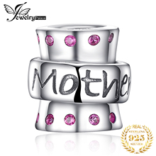 JewelryPalace 925 Sterling Silver Warm Embrace Created Ruby Engraved Mom Charm Beads Fit Bracelets New Hot Sale For Family
