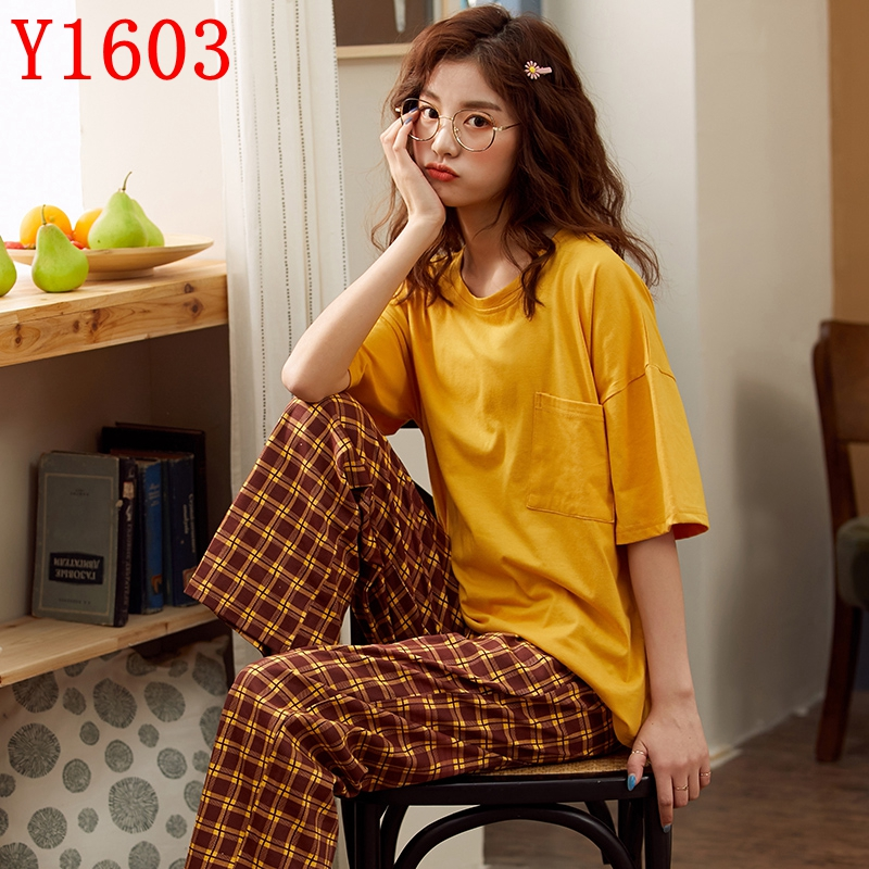 Women's Sleepwear Summer Short Sleeve 2 Pcs Pajama Set Soft Cotton STRIPE Thin Summer Casual Top Pant Home Wear Suit