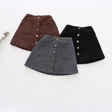 Girls Skirts Autumn Winter Children Buttons Clothes 2020 New Kids Corduroy