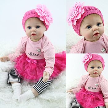 55cm Bebe Boneca Reborn Silicone Real Cloth Body Realistic Reborn Doll Lifelike Baby Girl Newborn Dolls Gifts Toys for Children npk 22 close eyes reborn baby doll model silicone touch real soft realistic girl boneca reborn dolls for toddler sleeping toys
