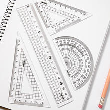 Deli 9619 student ruler 4pcs/set cute Cartoon Straight Triangle Ruler Protractor Drafting Drawing School Office Supplies