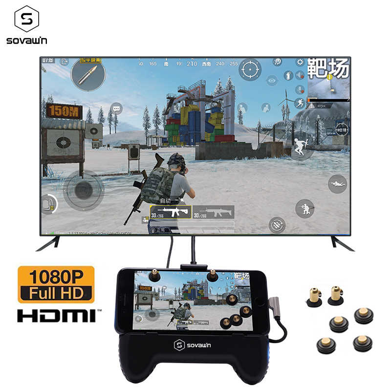 Gamepad Android TV móvel 4K HDMI Adaptador de Vídeo USB Controlador Joystick Mesma Tela PUBG do Conversor para o iphone Para TV projetor