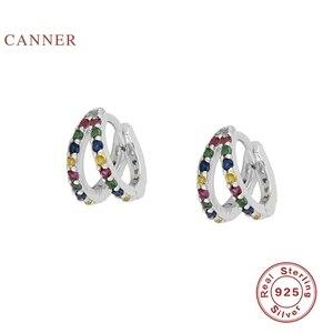Женские Двухцветные серьги-колечки CANNER, серьги из стерлингового серебра 925 пробы, модная серебряная бижутерия