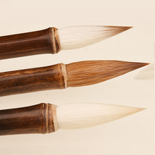 Luxurious Weasel Hair Calligraphy Brush Pen Ancient Chinese Bamboo Medium Regular Script Writing Drawing Brush Stationery