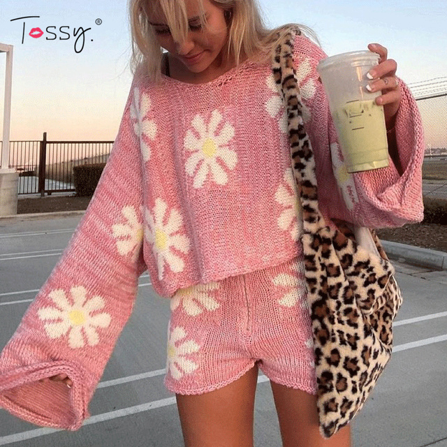Tossy Knitted Women's 2 Piece Sets Outfits Casual Pink Floral Sweet Oversized Sweater Suit With Shorts For Women 2021 Tracksuit 2