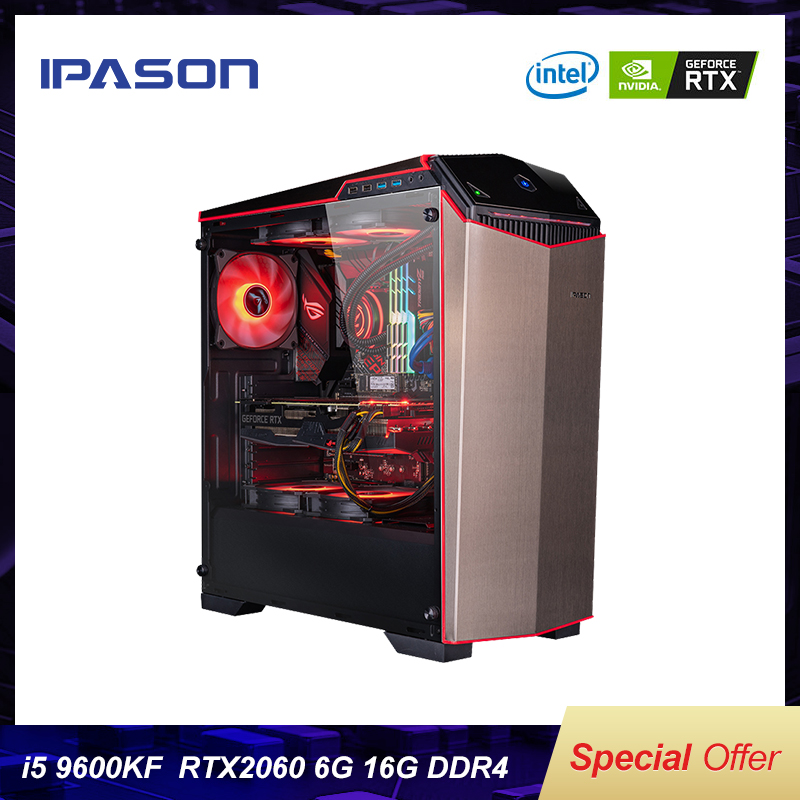 IPASON Gaming Computers Intel I5 9400F Upgrade Into 9600KF/RTX2060 SUPER DDR4 16G RAM 256G SSD High-End PUBG Gaming Desktop PC