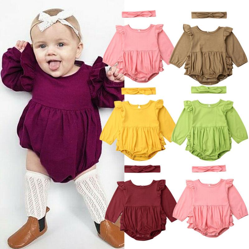 0-18 monate Neugeborenen Baby Mädchen Bodys Solide Rosa Gelb Grün Langarm Bodys Für Mädchen Kleidung Baby Mädchen outfits