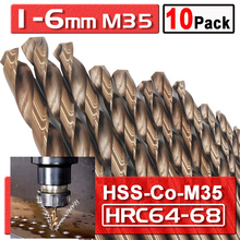 цена на 10 Pcs High Speed Steel HSS M35 Cobalt Twist Drill Bits HSS-Co Bit 5%Co For Metal Drilling 1 1.5 2.5 3 4 5 6mm Drill Bit D30