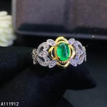 KJJEAXCMY fine jewelry natural Emerald 925 sterling silver new adjustable gemstone women ring support test lovely(China)