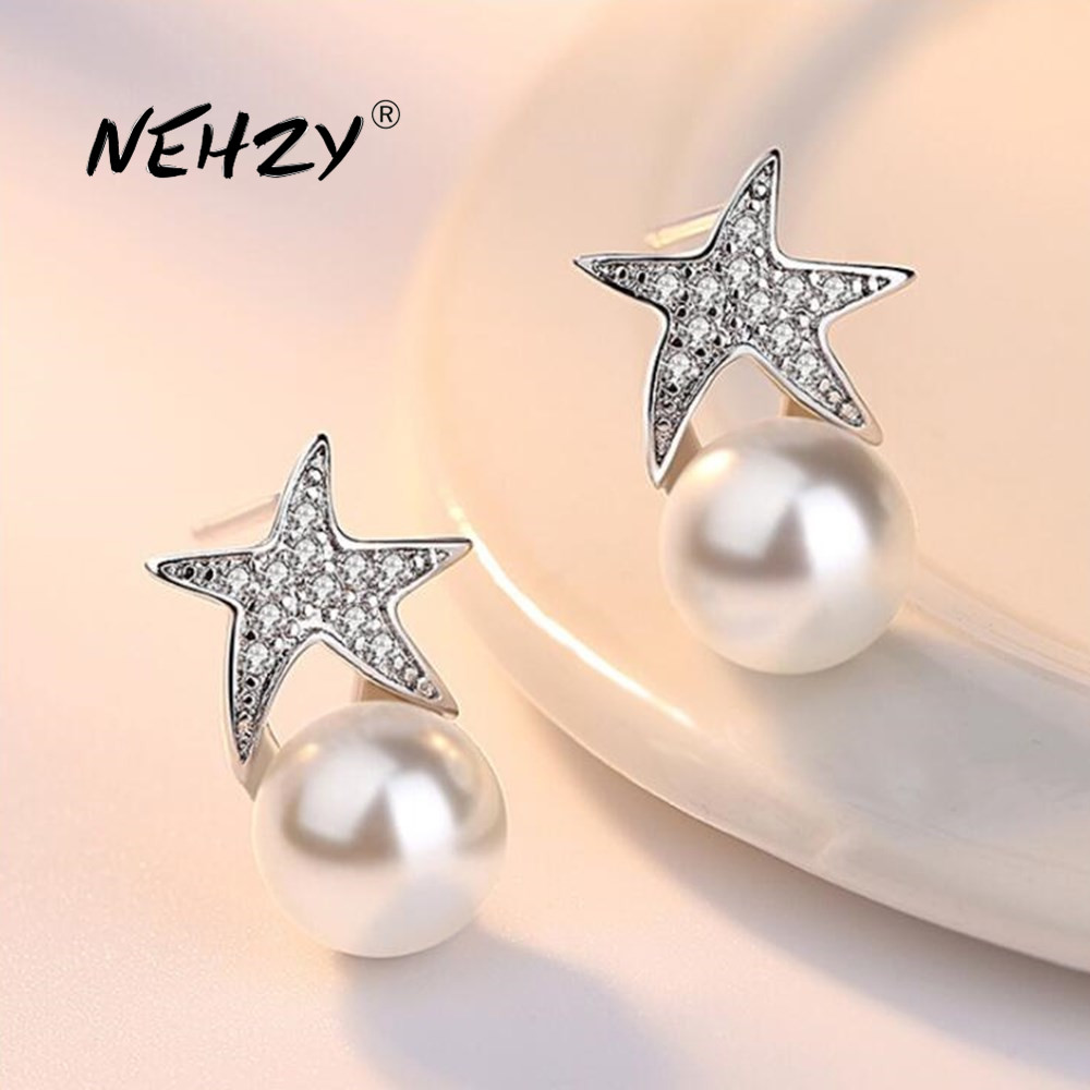 NEHZY 925 Sterling Silver Stud Earrings High Quality Woman Fashion Jewelry Retro Simple Starfish Pearl Crystal Zircon Earrings