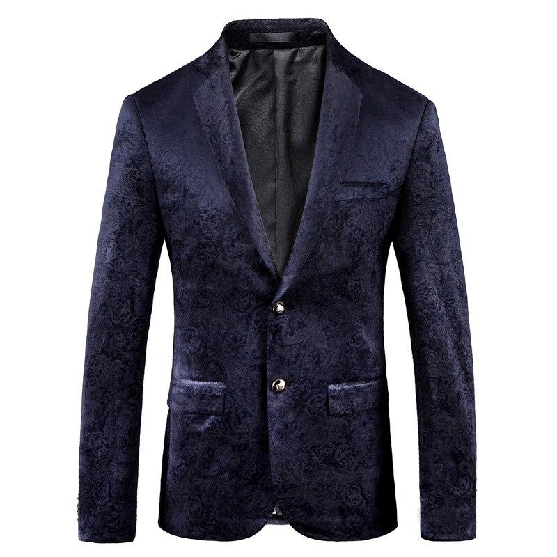 Imprimer marine affaires hommes Blazer hauts veste nouvelle mode unique homme costume manteau pour bal scène MJ005