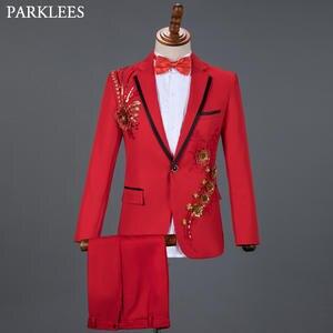 Men Suits Costume Blazer Diamond Homme Wedding Floral Fashion 3piece Pant Stage Red