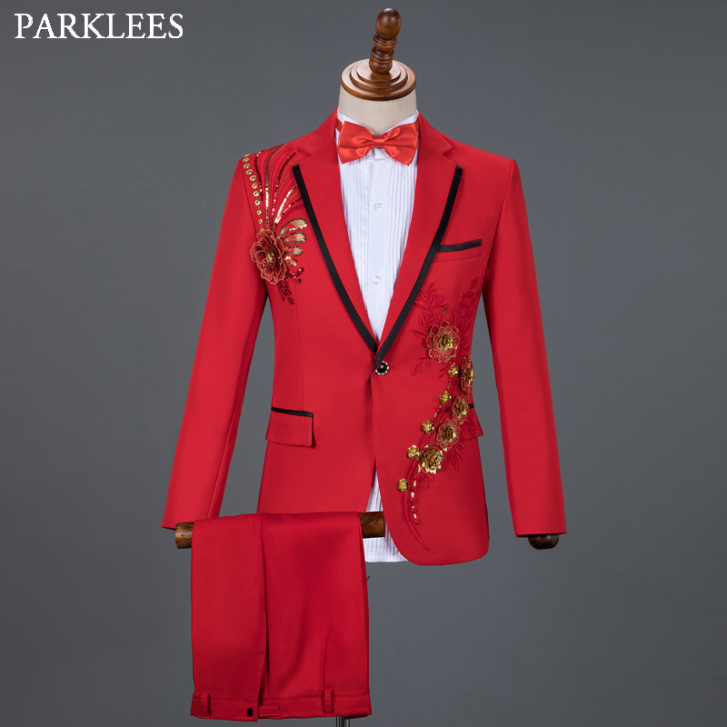 Red Diamond Floral Men Suits For Wedding Mens Suits 3 Piece Blazer+Pant+Bow Tie Fashion Tuxedo Men Suit Set Stage Costume Homme