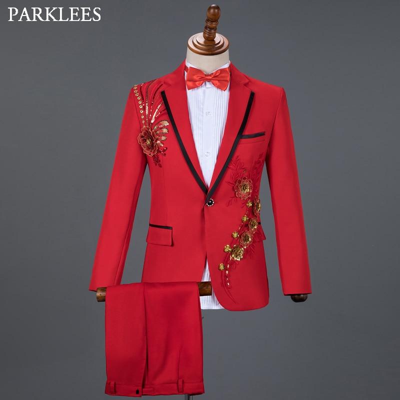 Red Diamond Floral Men Suits For Wedding Mens Suits 3 Piece Blazer+Pant+Bow Tie Fashion Tuxedo Men Suit Set Stage Costume Homme