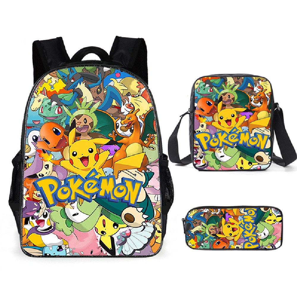 Pokemon pikachu mochila escolar para meninos caso de lápis mochila anime dos desenhos animados mochila suprimentos crianças portátil