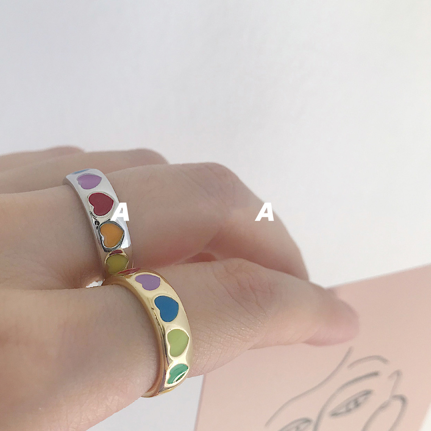 2021 Korea Adjustable Rings Cute Colorful Heart Rainbow Rings kpop Simple Ins Fashion Jewelry for Women Student Gifts Aesthetic