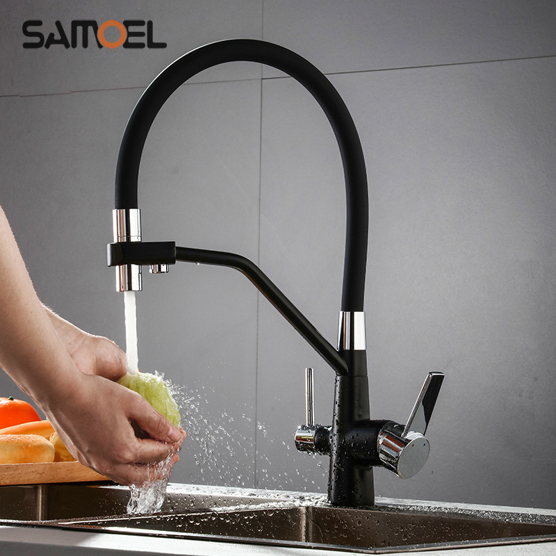 High-end Brass Black Kitchen Sink Faucet Mixer Pull Down Two Handle 3-way Kitchen Healthy Drinking Water Tap  B3345
