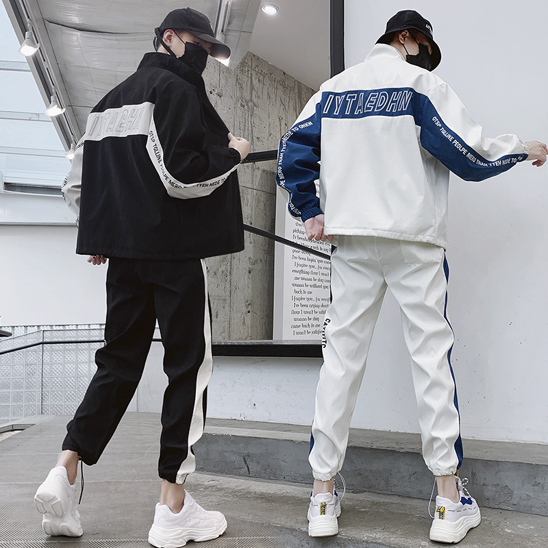 Men's Patchwork Sweatsuit Sweatshirt + Sweatpants Running Tracksuit Men Sports Set Training Suit Sport Wear