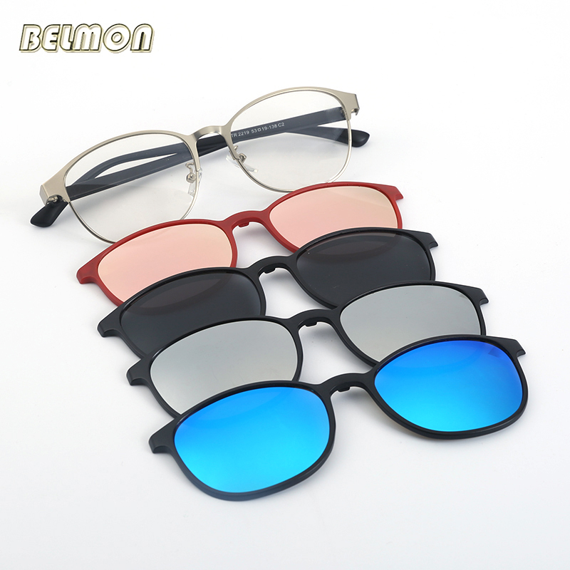 Fashion Spectacle Frame Eyeglasses Men Women With  Polarized Clip On Sunglasses Magnetic Glasses Male Myopia Optical  RS2352
