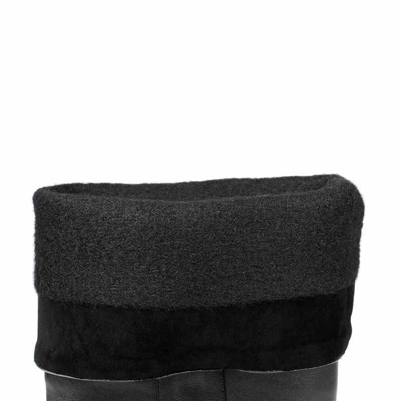 MoonMeek artı boyutu 34-48 moda diz yüksek çizmeler kadın yuvarlak ayak düşük topuklu çizmeler zip basit bayanlar sonbahar kışlık botlar 2020 yeni