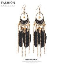 Hello Miss Fashion dripping feather tassel earrings retro national style long pendant earrings new women's earrings jewelry цена 2017
