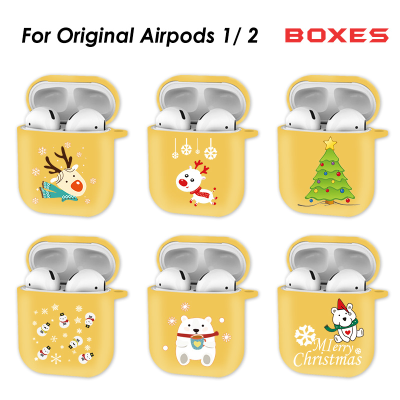 Christmas Cartoon Wireless Bluetooth Earphone Case For AirPods Shockproof Protect Cover For Apple Air Pods 2 Silicon Case Coque