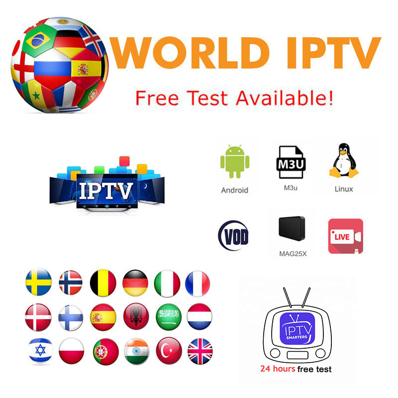 World Android IPTV Smarters 7000 Live 6000 VOD USA Europe French Spain UK Subscription With TV For M3u MA9 9250 Enigma2 Smart TV