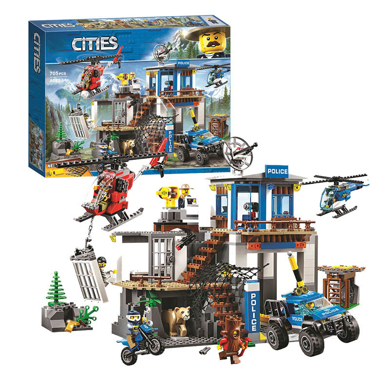 New 705pcs Lepining City Series Mountain Police Headquarters Building Block Educational Diy Toy For Children Gift 60174