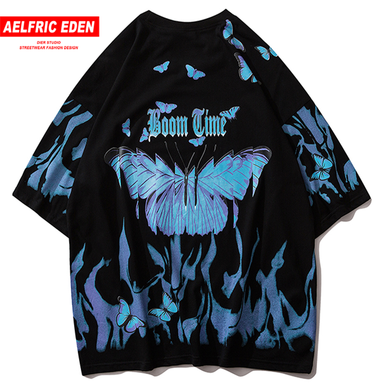 Aelfric Eden Blue Butterfly Hip Hop Streetwear T Shirt Men 2020 Casual Cotton Harajuku Short Sleeve Tops Oversized T Shirt Mens