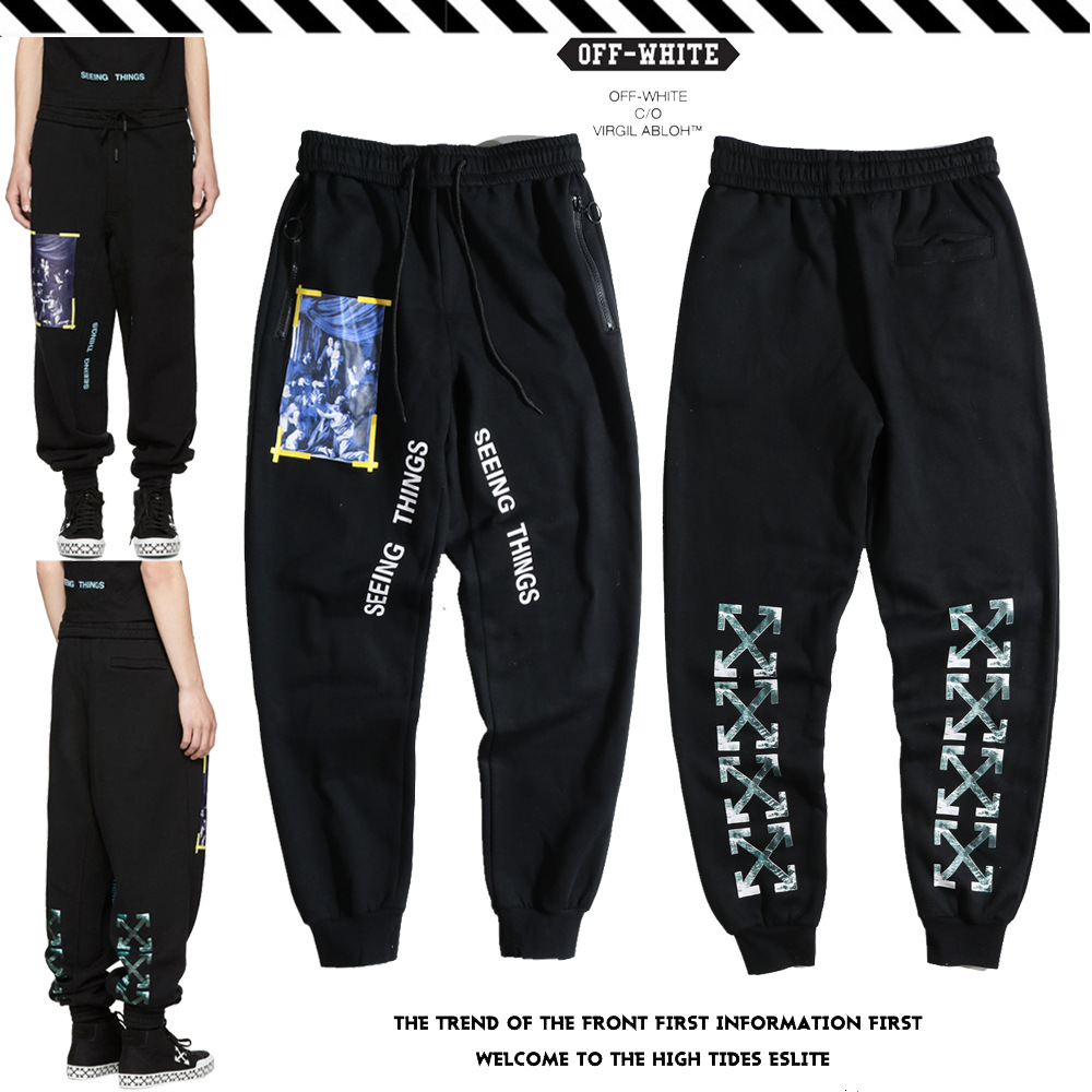 19 Europe And America Popular Brand Off Ow White Waves Yellow Strip Religious Plus Velvet Sweatpants Casual Pants Hair