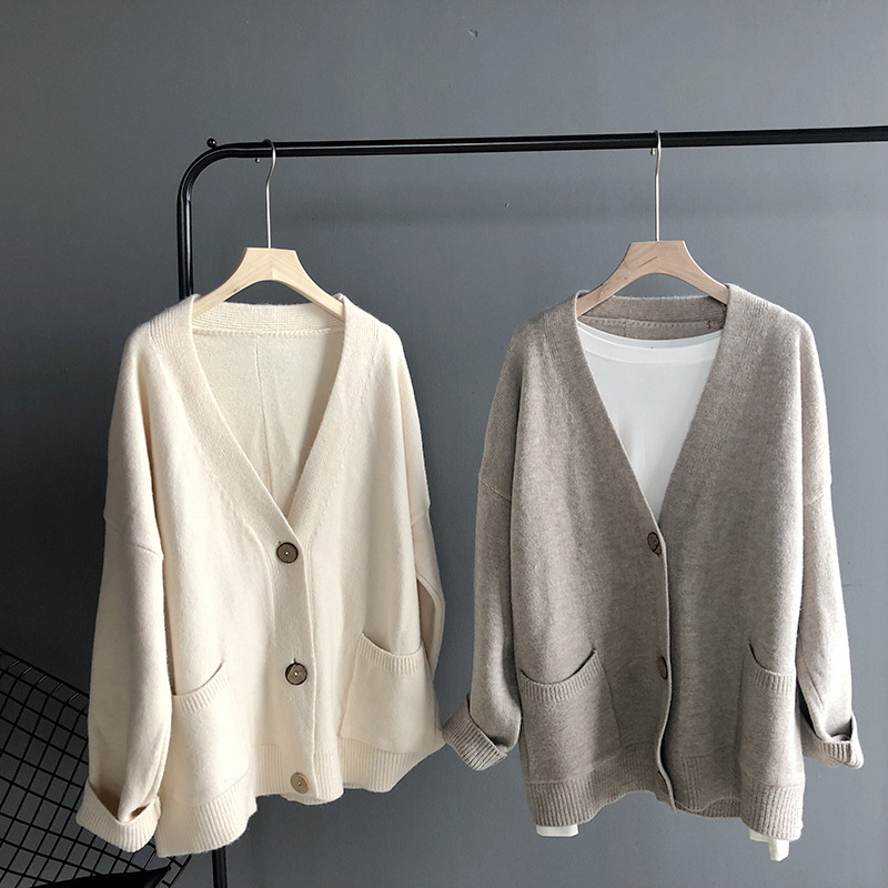 Mooirue Winter 2019 Women Sweet Knitted Cardigan Slim Outwear Feminino Pink Gray Knitwear