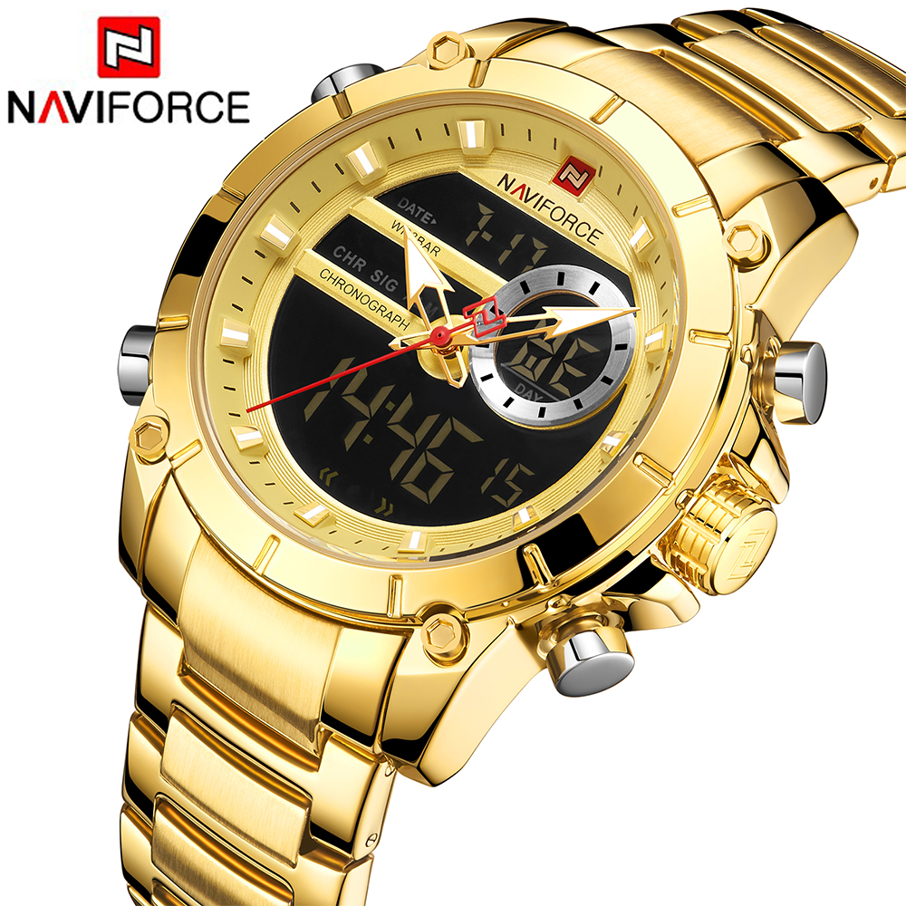 NAVIFORCE Sport Men Watches Digital Quartz Waterproof Clock Date Steel Fashion Dual-Display