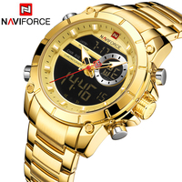NAVIFORCE Sport Men Watches Fashion Nice Digital Quartz Wrist Watch Steel Waterproof Dual Display Date Clock Relogio Masculino