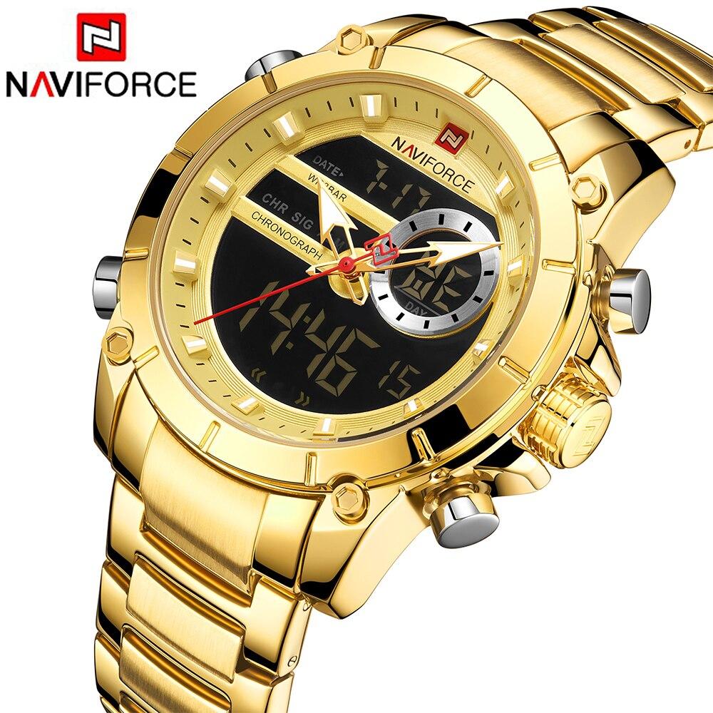 Naviforce sport men relógios moda agradável digital relógio de pulso quartzo aço à prova ddual água dupla exibição data relógio relogio masculino