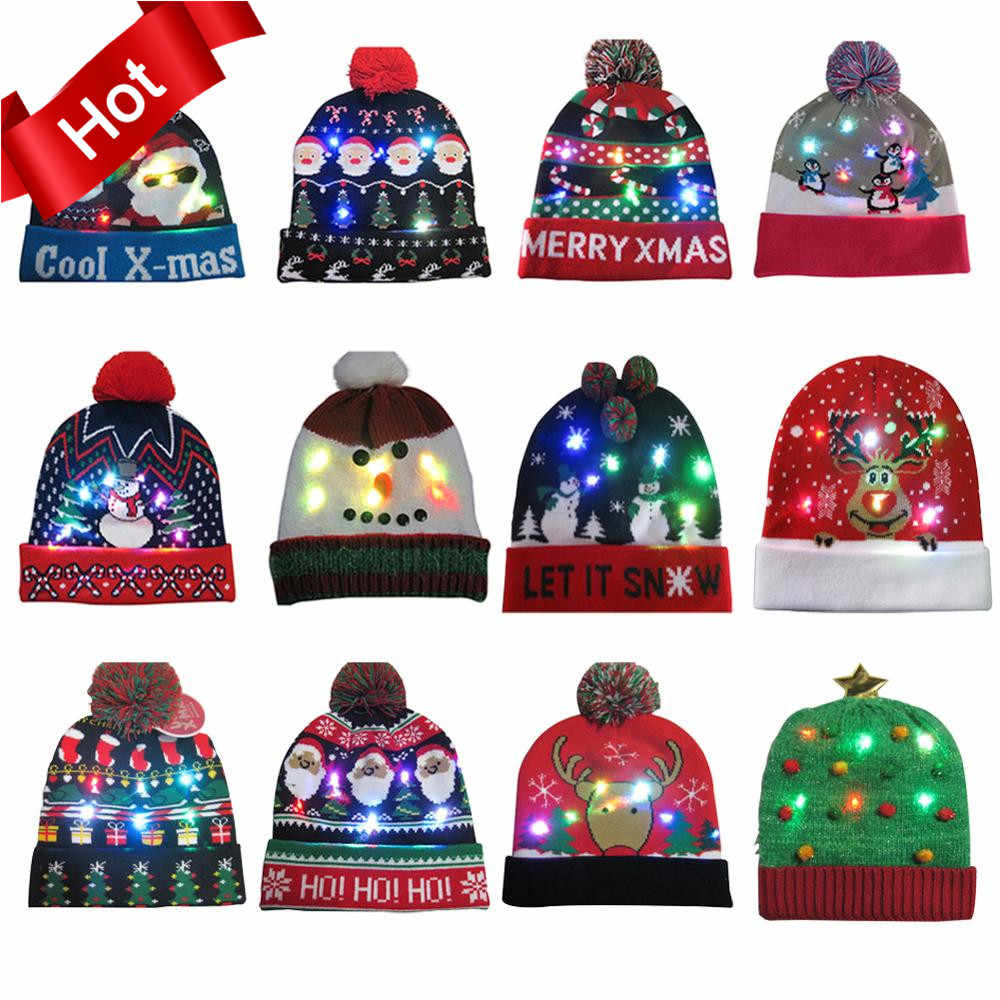 2020 HOT 43 Designs LED Christmas Hats Beanie Sweater Christmas Santa Hat Light Up Knitted Hat for Kid Adult For Christmas Party