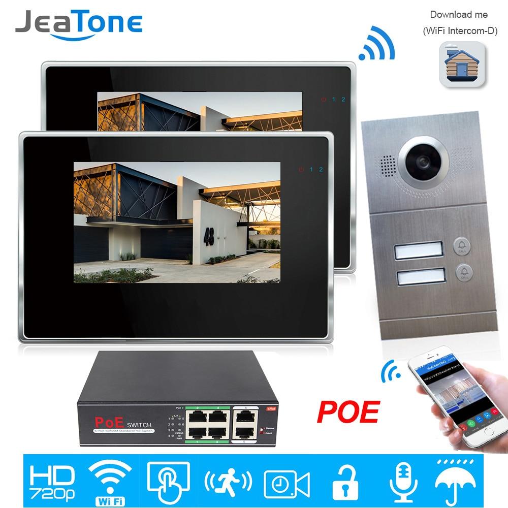 720P WiFi IP Video Door Phone Video Intercom 2-Apartments Door Access Control System IOS/Android Mobile APP Remote Unlock Alarm
