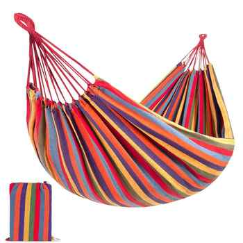 Portable Canvas Hammock Lightweight Garden Hanging Bed 1-2 Person Camping Sleeping Swing for Outdoor Furniture with Storage Bag