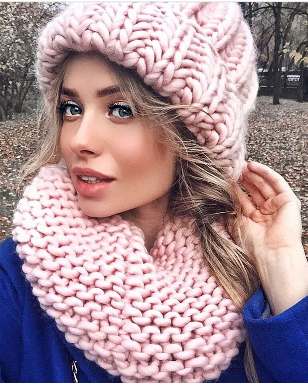 Women Winter Knitted Beanies Hat Thick Soft Warm Coarse Large Knitted Solid Hat Female Ice Ski Bonnet Skullies Beanies Hat Cap 48
