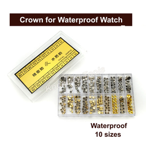 Image 4 - 防水時計の王冠の部品の交換品揃えの金と銀のドームフラットヘッド時計アクセサリー修理ツールキット