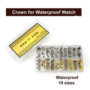 Image 4 - Reemplazo de piezas de corona de reloj a prueba de agua Surtido de cúpula dorada y plateada Accesorios de reloj de cabeza plana Kit de herramientas de reparación para relojero