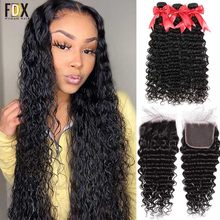 FDX, пупряди с глубокой волной, с застежкой, бразильские пучки волос, пучки с переплетением 28, 30, 32, 34 дюйма, пупряди человеческих волос Remy, 6x6, пу...